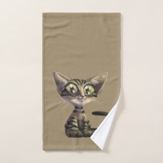 Cute Caricature Cat Hand Towel