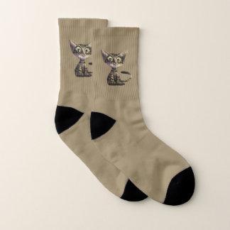Cute Caricature Cat Small All-Over-Print Socks