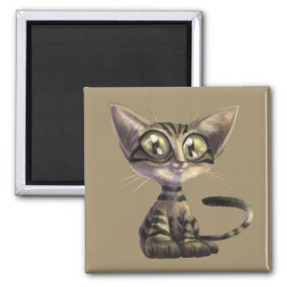 Cute Caricature Cat Square Magnet