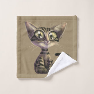 Cute Caricature Cat Wash Cloth