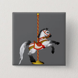 Cute Carousel Horse 1med 2 Inch Square Button