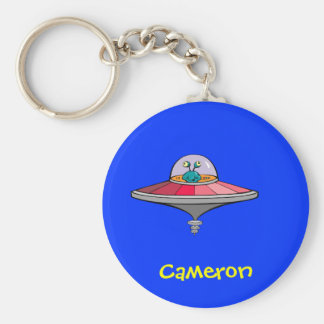 Cute Cartoon Alien In Ufo Personalized Name Gift Keychain