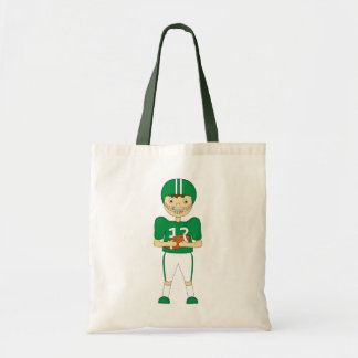 Cute Cartoon American Football Player in Green Kit Tote Bag