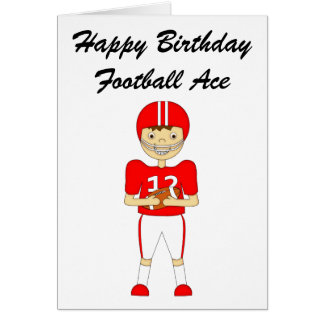 Cute Cartoon American Football Player in Red Kit Card
