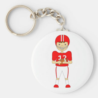 Cute Cartoon American Football Player in Red Kit Keychain