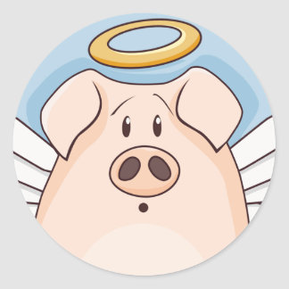 Cute Cartoon Angel Pig Classic Round Sticker