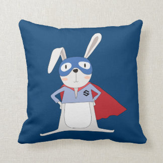Cute Cartoon Animals Bunny Rabbit Super Hero Throw Pillow