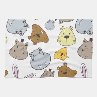 Cute Cartoon Animals Portrait Pattern Kitchen Towel