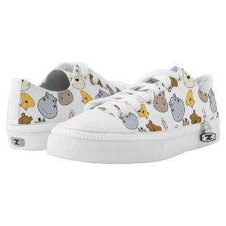 Cute Cartoon Animals Portrait Pattern Low-Top Sneakers