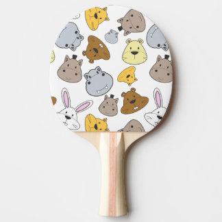 Cute Cartoon Animals Portrait Pattern Ping Pong Paddle