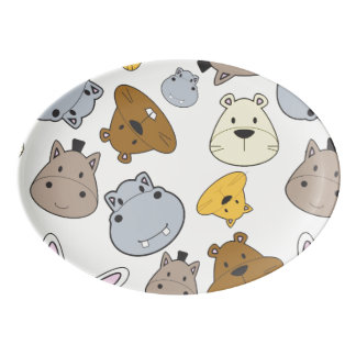 Cute Cartoon Animals Portrait Pattern Porcelain Serving Platter