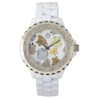 Cute Cartoon Animals Portrait Pattern Watch