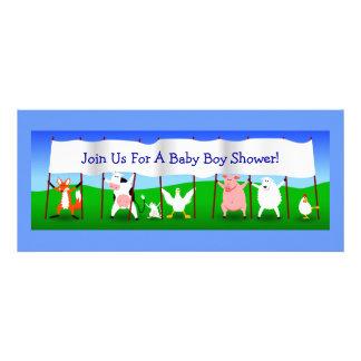 Cute Cartoon Animals with Banner Baby Boy Shower Invitations