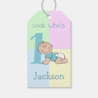 Cute Cartoon Baby Boy 1st Birthday Gift Tags