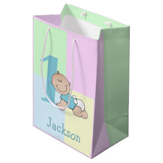Cute Cartoon Baby Boy 1st Birthday Medium Gift Bag