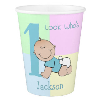 Cute Cartoon Baby Boy 1st Birthday Paper Cup