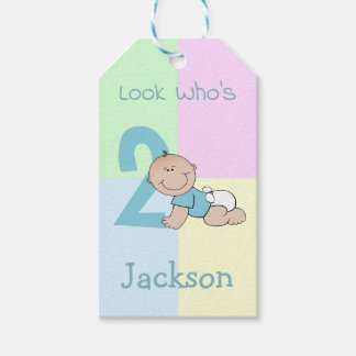 Cute Cartoon Baby Boy 2nd Birthday Gift Tags