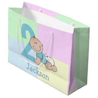 Cute Cartoon Baby Boy 2nd Birthday Large Gift Bag
