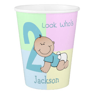 Cute Cartoon Baby Boy 2nd Birthday Paper Cup