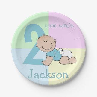 Cute Cartoon Baby Boy 2nd Birthday Paper Plate