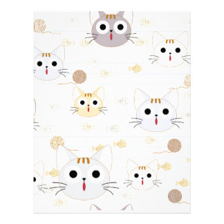 Cute cartoon baby cat kitty kitten charactor funny letterhead