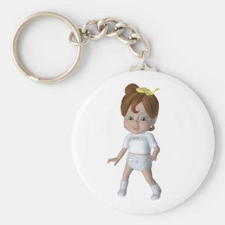 Cute cartoon baby design basic round button keychain