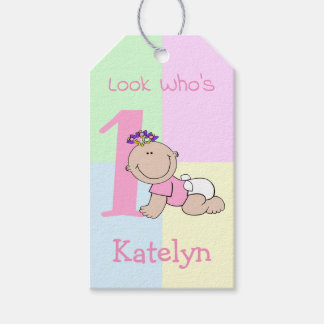 Cute Cartoon Baby Girl 1st Birthday Gift Tags