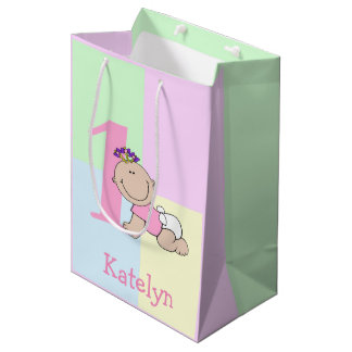 Cute Cartoon Baby Girl 1st Birthday Medium Gift Bag
