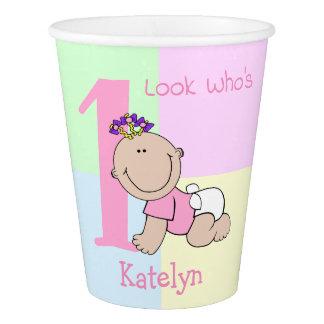 Cute Cartoon Baby Girl 1st Birthday Paper Cup