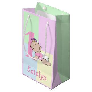 Cute Cartoon Baby Girl 1st Birthday Small Gift Bag