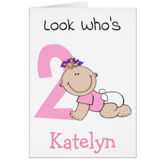 Cute Cartoon Baby Girl 2nd Birthday Card