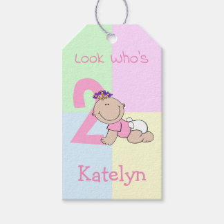 Cute Cartoon Baby Girl 2nd Birthday Gift Tags
