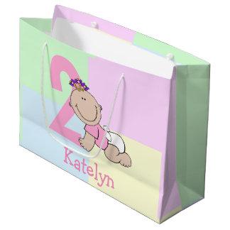 Cute Cartoon Baby Girl 2nd Birthday Large Gift Bag