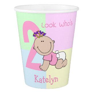 Cute Cartoon Baby Girl 2nd Birthday Paper Cup
