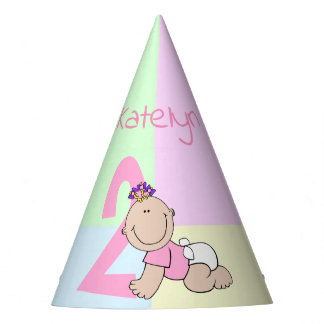Cute Cartoon Baby Girl 2nd Birthday Party Hat