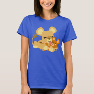 Cute Cartoon Baby Lion's Bath Women T-Shirt
