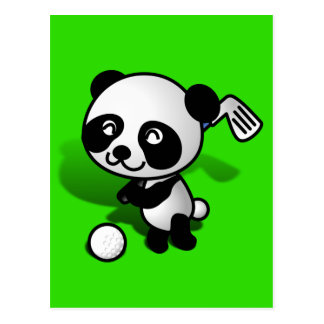 Cute Cartoon Baby Panda Bear Golfing Postcard