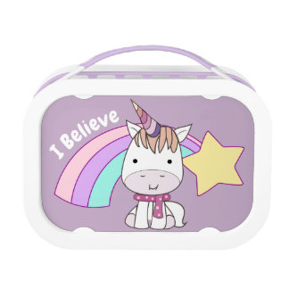 Cute Cartoon Baby Unicorn and Rainbow Lunch Box