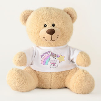 Cute Cartoon Baby Unicorn and Rainbow Teddy Bear