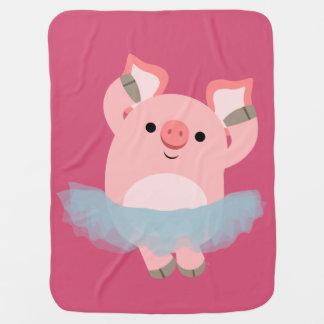 Cute Cartoon Ballerina Pig Baby Blanket