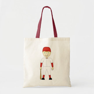 Cute Cartoon Baseball Player Red & White Uniform Tote Bag