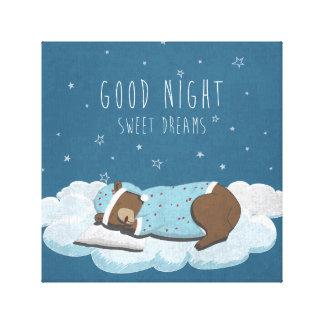 Cute cartoon bear illustration gallery wrapped canvas
