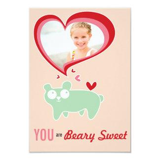 "Cute Cartoon Bear Kid Classroom Valentine Photo 3.5"" X 5"" Invitation Card"