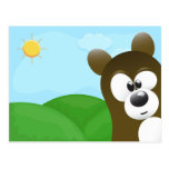 Cute Cartoon Bear Photo Bomb Postcards