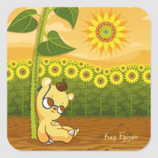 Cute Cartoon Bear with Sunflowers Square Sticker