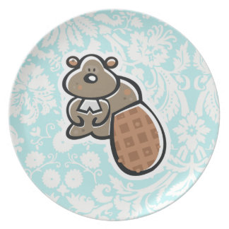 Cute Cartoon Beaver Dinner Plates