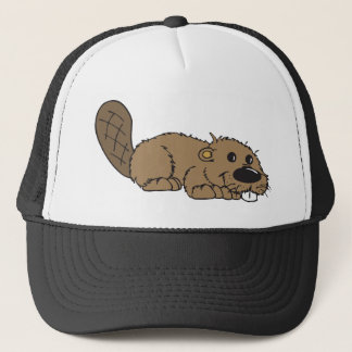 Cute Cartoon Beaver Lying Down Trucker Hat