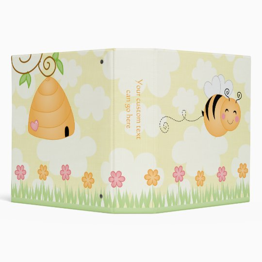 Cute cartoon bee and hive flowers avery binder