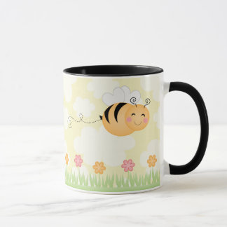 Cute cartoon bee and hive flowers coffee mug