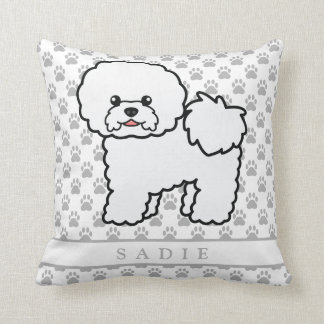 Cute Cartoon Bichon Frise Dog & Custom Name Throw Pillow